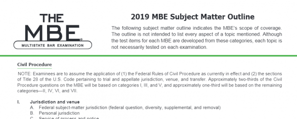 NCBE Updates Subject Matter Outlines | Any Changes? – Crushendo®