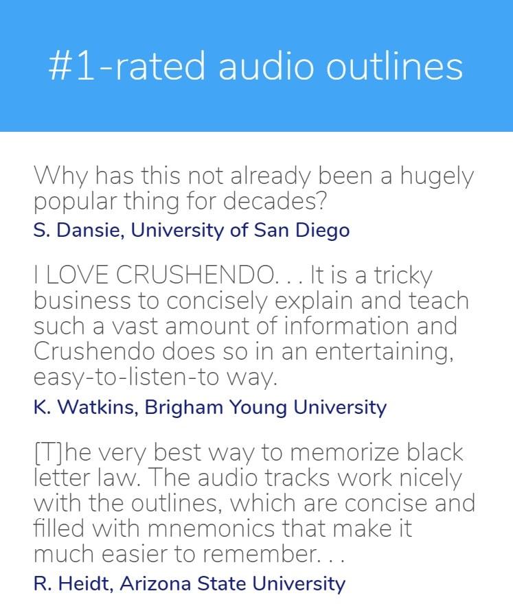 Crushendo® – Bar Review | Bar Exam | Law School | Audio Outlines